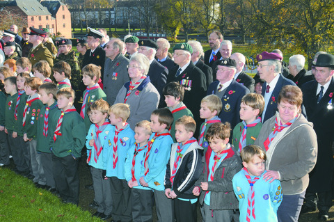 RESPECT: Cubs and Scouts line up at Evesham's remembrance service. 45174203.