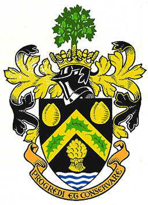 SET FOR RETURN? The old Pershore RDC coat of arms.