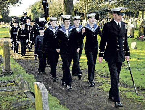 MARCH: Commanding officer Steve Thomas leads the parade of Pershore Sea Cadets and St John Ambulance Brigade.