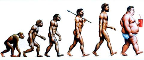 FATTER NOT FITTER: An artistic take on man's evolution highlights the issue facing Worcestershire families and health services.