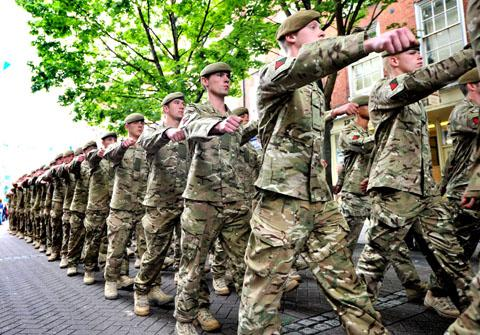 LOOK TO YOUR FRONT: Soldiers of the Mercian Regiment march through Worcester.