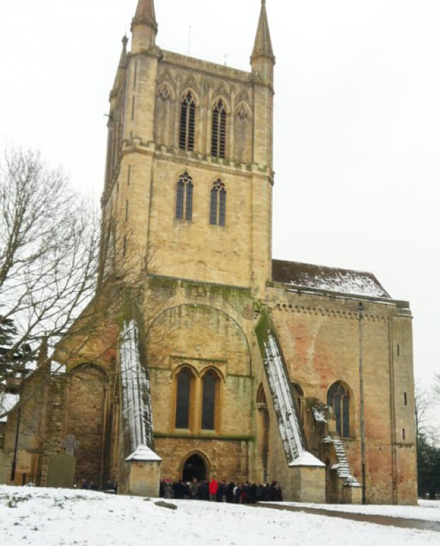 Crowds gather outside Pershore Abbey