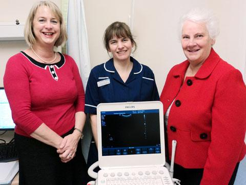 SCAN: From left, Patti Paine, head of midwifery with Aldona Morrison, midwife sonographer lead and Frances Smith from the Friends of ECH with their new scanning machine