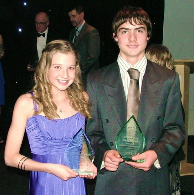 AWARD WINNERS: Talented Tazmin Pugh and Harry Sykes will compete at the World Schools Biathlon national finals.