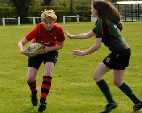 TWO TRIES: For Pershore women's Sue Breay (left) in the Midlands Ladies' Touch Rugby League. Picture: SCOTT HARRISON-JONES PHOTOGRAPHY.