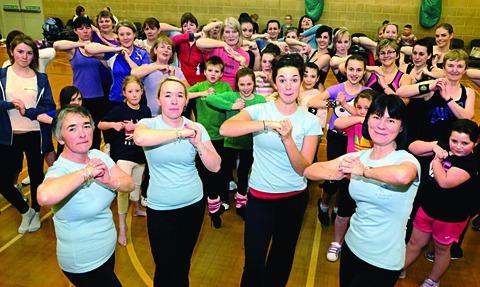 Deborah Robinson, Jadine Gaffney, Jo Gaze and Paula Hill with other participants in the Zumbathon at Pershore Leisure Centre.