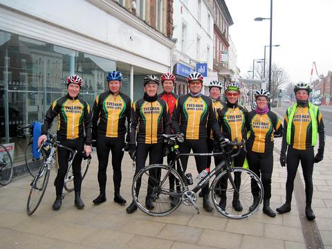 ROAD RACERS: Evesham Wheelers members line up (left to right): Steve Bullen, Stuart Newbury, Norman Smith, Fred Meades, Sean Wilkinson, Richard Cowley, Phil Stayte, Carol Hall and Keith Marshall. Picture: DAVID NASH