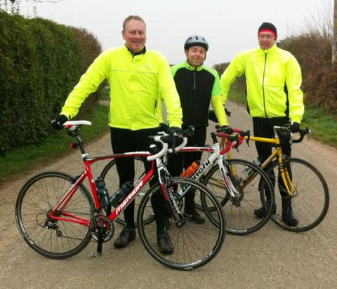 THE A-TEAM: Setting the pace in the charity challenge are, left to right, Ian Woodley, Neil Morris and Mark Chatburn.