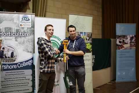 OVER TO YOU: Douglas Mackay hands over the mantle to Pershore College horticulture student Owen Groves.
