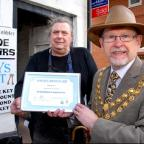 MAYOR'S AWARD: Stephen Fordham, owner of Ye Olde Cobbler in Broad Street, Pershore, and Charles Tucker, mayor of Pershore.