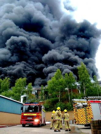 DRAMATIC: The blaze at its height on Sunday