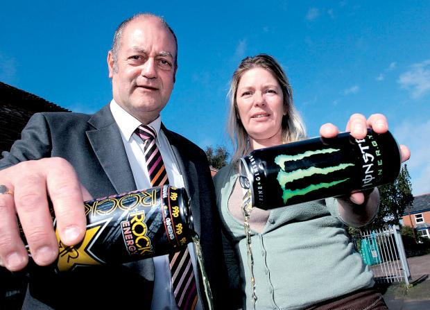 IT'S A WHOLE CAN OF PROBLEMS: David Kemp and Charlotte Fox are against young people consuming energy drinks.