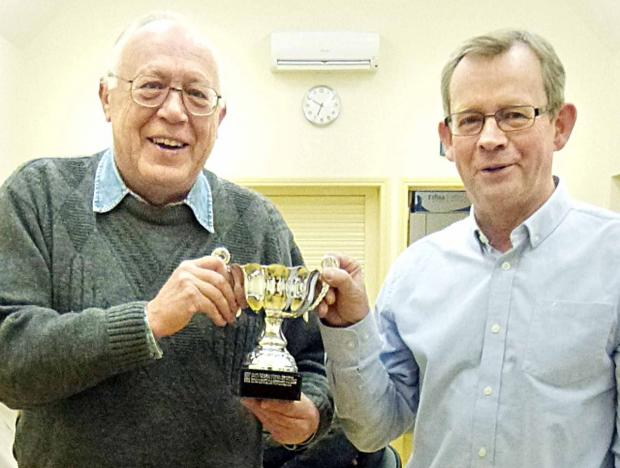 PRIZE GUYS: Alan Boyes (left) and Peter Kershaw won the championship pairs prize at Pershore Bridge Club's annual meeting after a successful year of action.