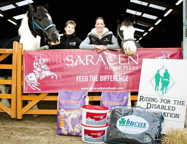 HELPING HAND: Olympic star Charlotte Dujardin (centre right) is lending her support to the Cotswold Riding for the Disabled Association club along with two companies, Saracen Horse Feeds and Bucas Rugs.