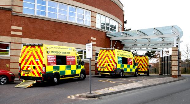 WAITING: Ambulances outside the accident and emergency department at Worcestershire Royal Hospital. 1413287702