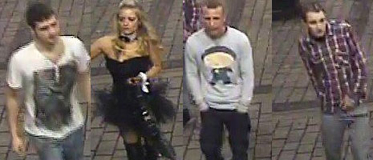 CCTV images of the three men and bunny girl police are seeking