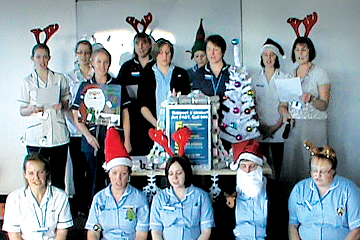 MUSICAL GENIUS: Stroke care hospital staff who have recorded their own version of the Christmas classic Jingle Bells.