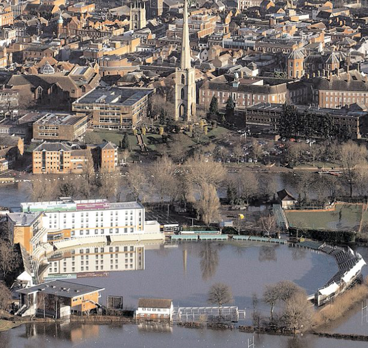 An aerial view of flooded Worcester from December