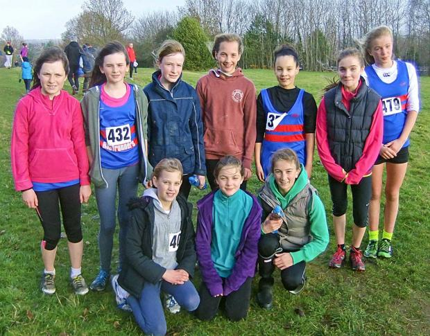 TABLE TOPPERS: Bourton Roadrunners' under 13s girls are impressing in the Gloucestershire Cross Country League and are currently top. Picture: RICHARD BUFTON.