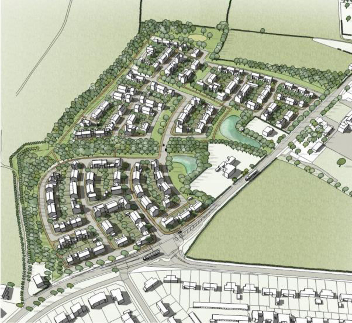 HOUSES: An artist's impression of the planned development off Station Road, Pershore.