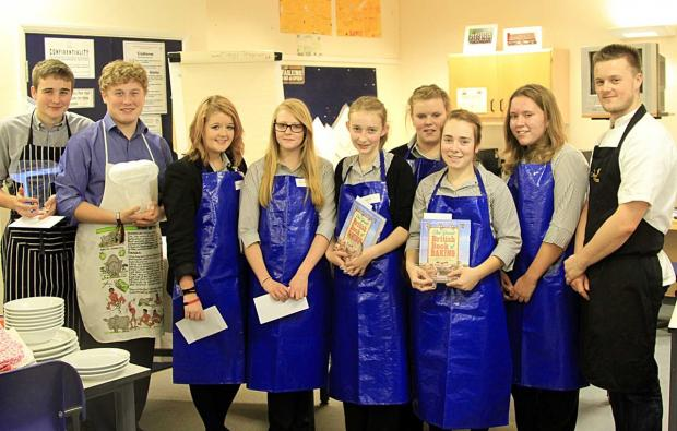 YOUNG CHEFS COOKING UP A STORM: Pictured from the left, Matthew Andrew, Harry Charnley, Stephanie Atkin, Ellie Smout, Leia Woodcock, Natasha Byrd, Alicia Cole, Erin Curtis and Nelson Mansfield.
