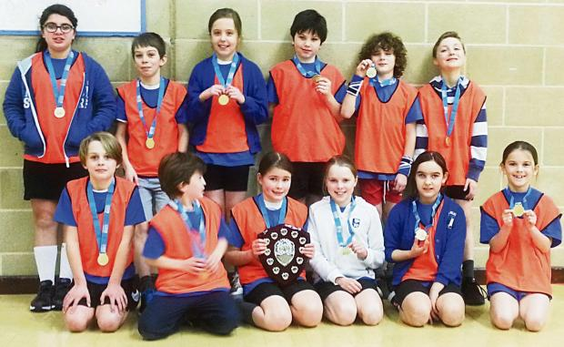 Blockley Primary School pupils who won the Cotswold small schools final in sports hall athletic