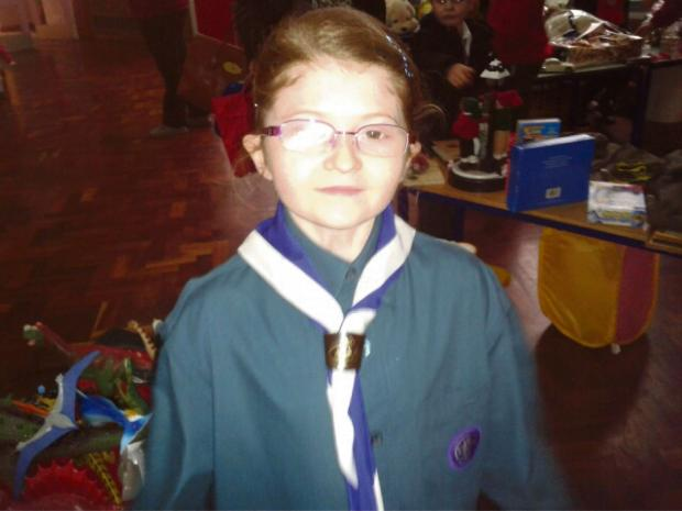 Clara Burnett, from 1st Pershore Scout Group, at an event to raise money for a new Scout hut.