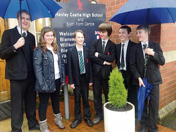 Evesham Journal: Hanley Castle High School students have been battling floods to get in. From leftt: Jack Walton. aged 16, Alice Higgins, 17, Oliver Sutton, 12, Joshua Whitebeam, 13, George Weaver , 14, and Jamie York, 13.