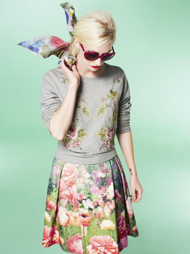 FLORALS: McQ embroidered sweater, £195; Untold floral prom dress, £115; Dickins & Jones bird print scarf, £30; all House of Fraser (www.houseoffraser.co.uk).
