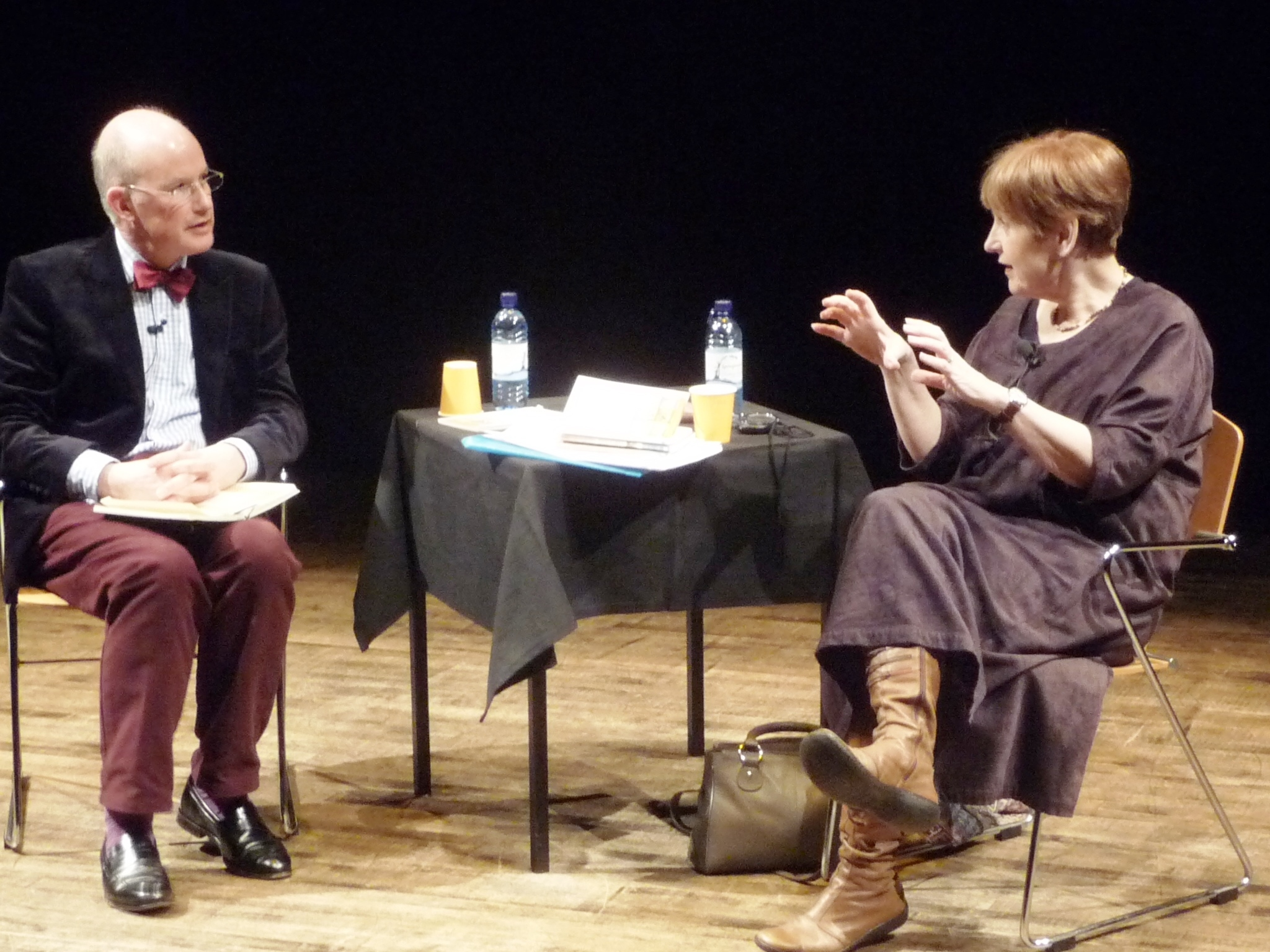 The King's School's head of English, Andrew Maund, interviewing poet Wendy Cope at Words Alive