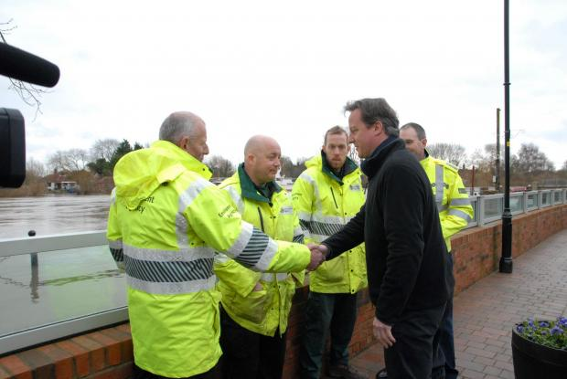 Evesham Journal: David Cameron during his visit to Upton amid the recent flooding crisis