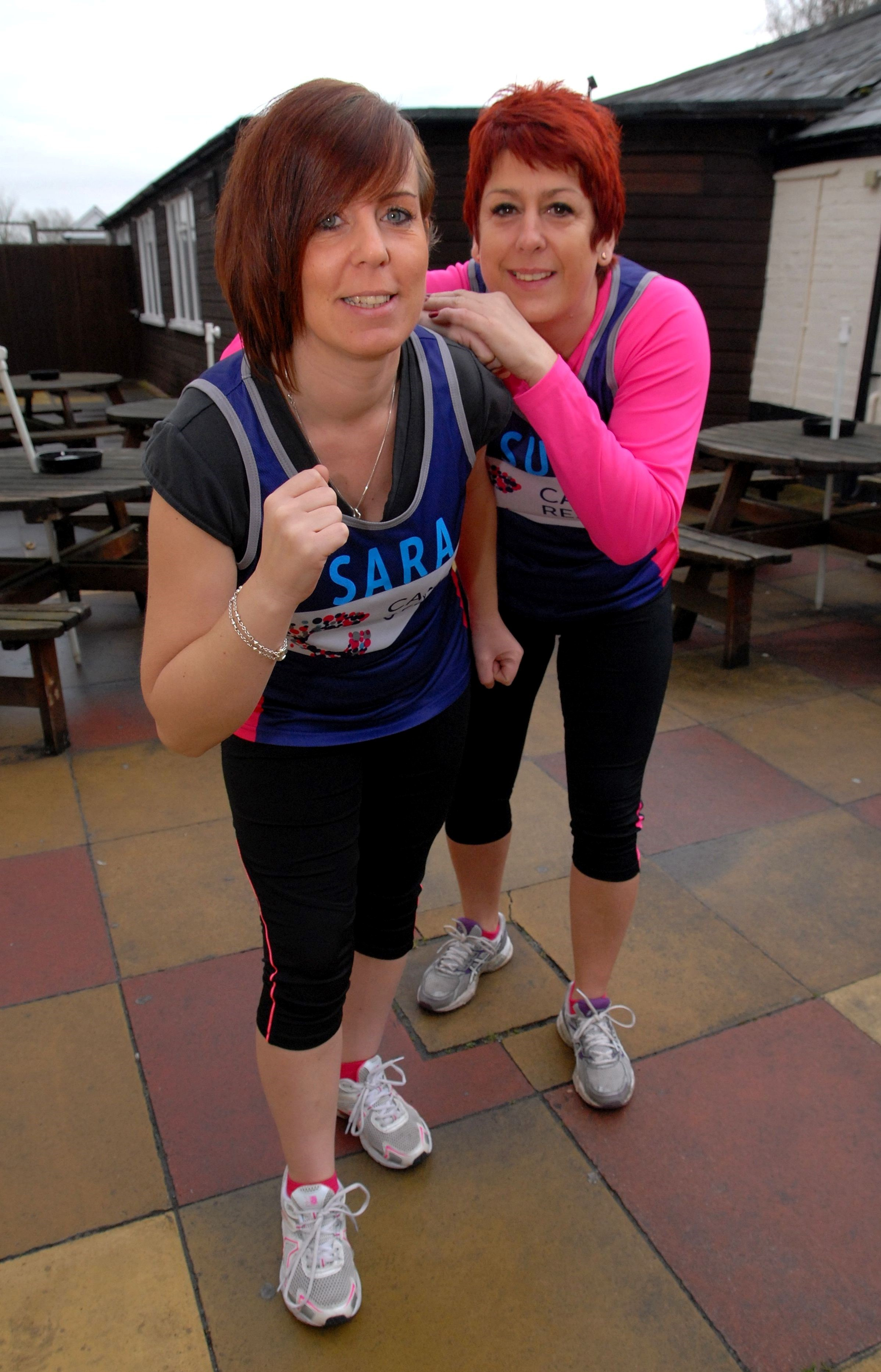 0814523602 Paul Jackson Pershore 18.02.14 From left - Sara Coleman and Sue Cosnett are running the Silverstone half marathon for Cancer Research UK. (4096495)