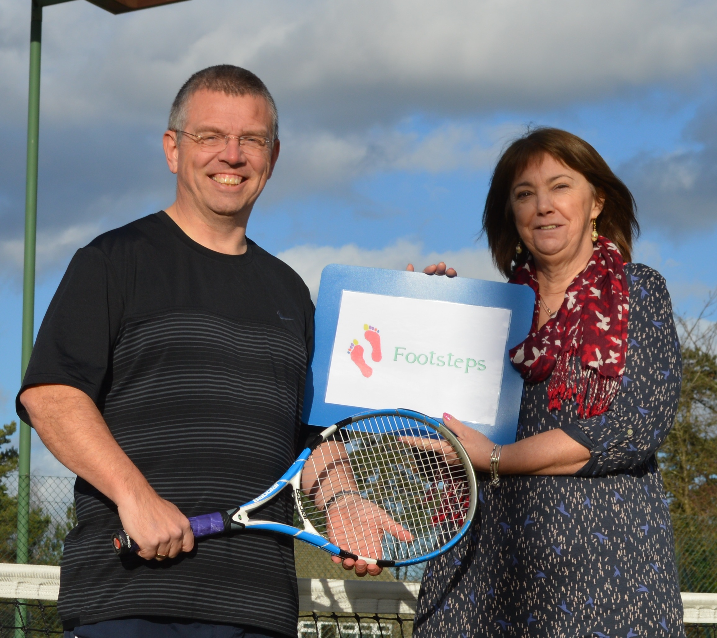 Neil Bates from Droitwich Tennis Club and Susan Smith from Footsteps
