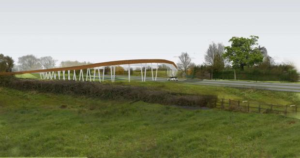 An indicative image of how the bridge over Broomhall Way in Worcester might look. Applicants St Modwen say this is not representative of the final design.