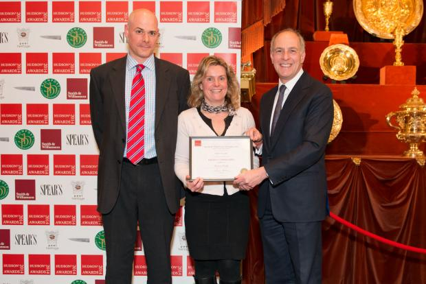 (from left) David Littlewood, general manager at Eastnor Castle, Sarah Roberts, marketing co-ordinator at Eastnor Castle and Loyd Grossman, pictured at the Hudson's Heritage Awards.