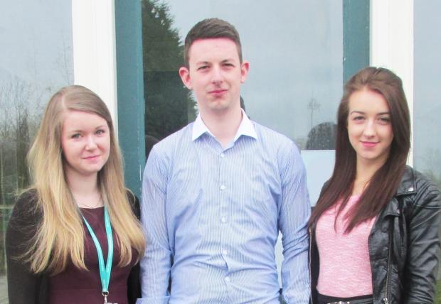 NHS apprentices Cheralyyn Roe, George Stringer and Nicole Pinder