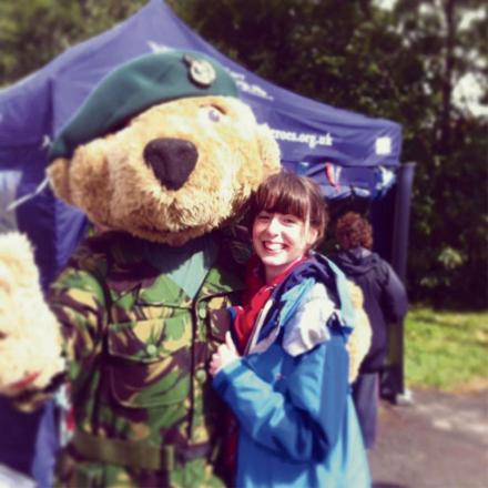 Hero the bear has a cuddle at last year's Royal Three Counties Show
