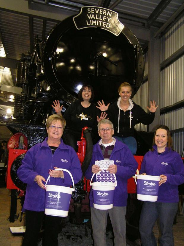 Evesham Journal: Front to back, left to right: Stroke Association volunteers Teri James and Tony James with Sophie James, the association's community and events fund-raising manager, Amanda Hopkins, area manager of Got 2 Sing, and Beth Dunn, founder and director of Go