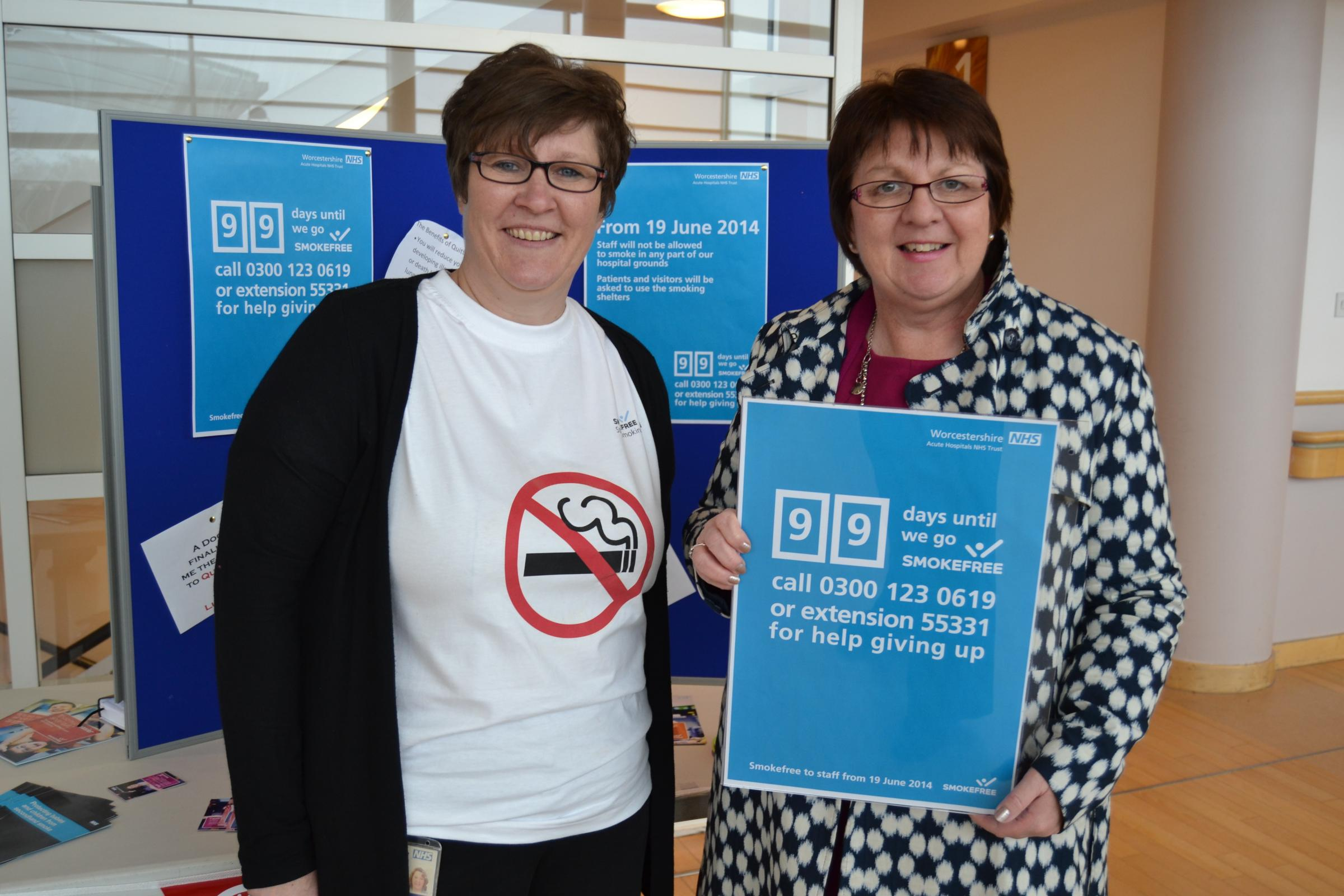 Worcestershire Acute Hospitals NHS Trust stop smoking advisor Jan Robbins and director of human resources Bev Edgar