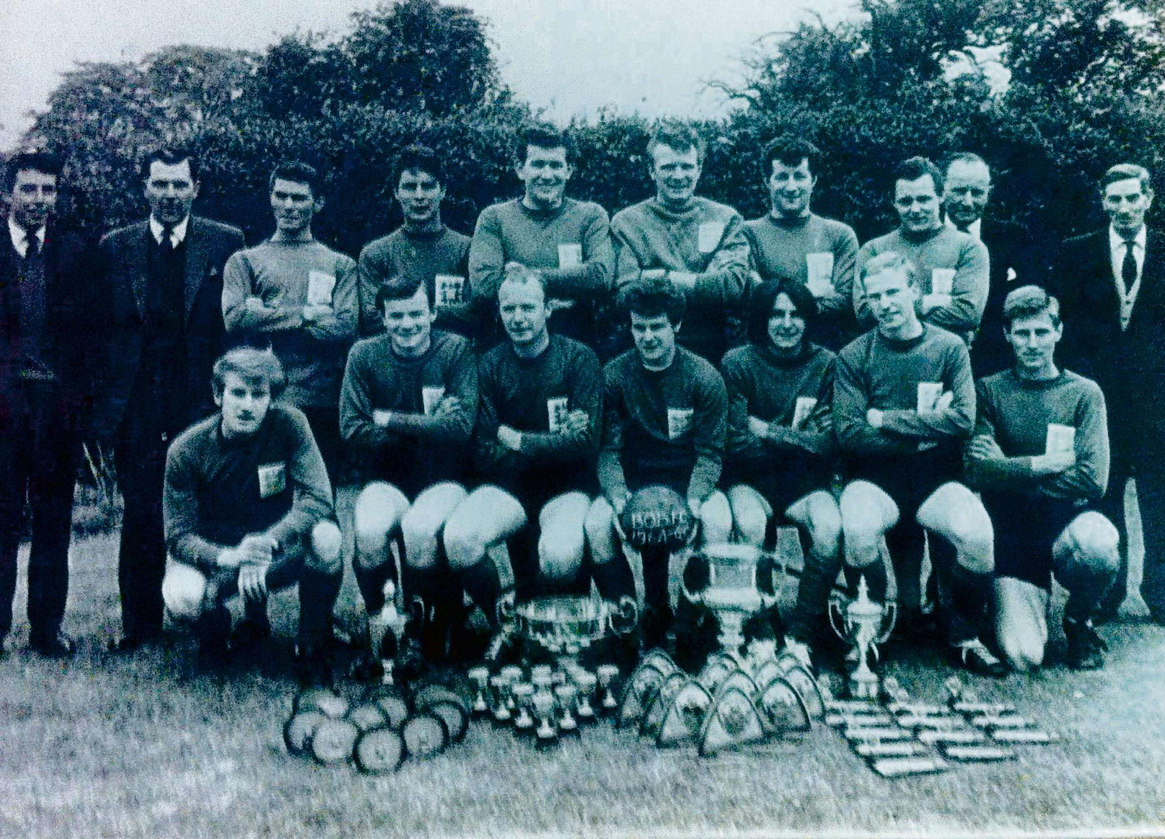 The all-conquering Bretforton Old Boys squad of 1964. Mike Allchurch ( committee),Philip Jelfs (treasurer),Ray Heywood,Tony Smith, Sam Raphael,Dave Heywood, Alan Walding, Roger Brewer, Dave Jackson, Maurice Allchurch, Derek Archer, Mick Wattie, Tony Weyla