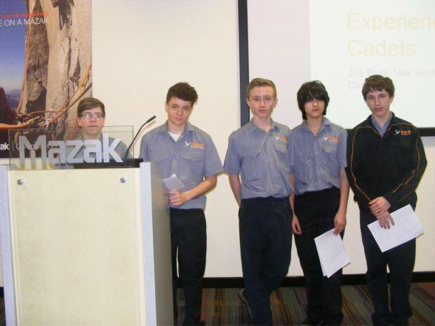 Students Tommy Ross, Craig Pritchard, Jon Brett, Max Smith and Chris Clark spent a week at Yamazaki M