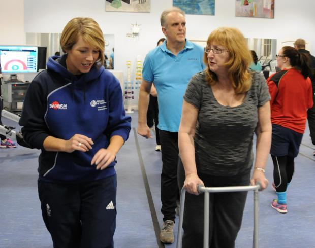 Dr Andrea Faull (left), senior lecturer in Sport and Exercise Psychology, guides a participant through the Push2Health programme.