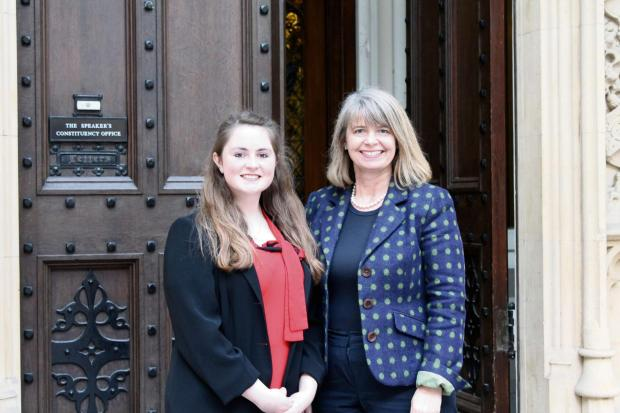 Pictured (l-r) Alice Bull and Harriett Baldwin MP arrive for tea at the Speaker's private apartment at the Houses of Parliament.