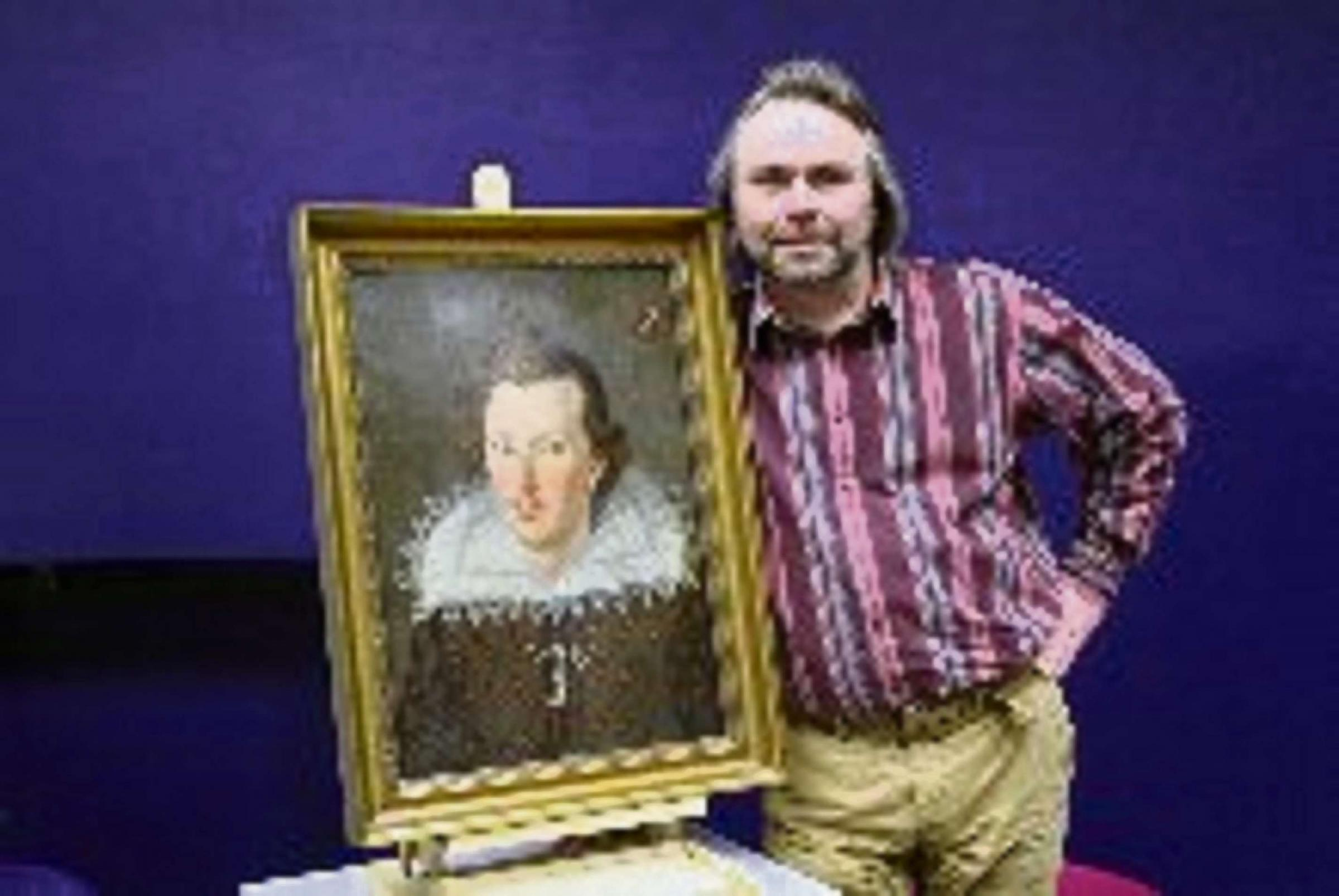 Simon Stirling with newly discovered portrait of the bard. photo courtesy of Goldsmiths, University of London.