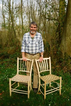 Greenwood expert and author Mike Abbott with two of his greenwood chairs.