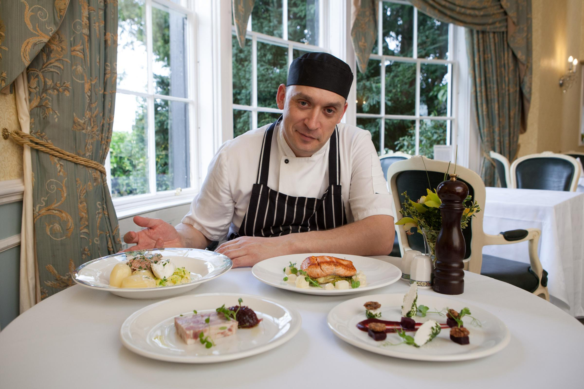 Head chef Paul Napper with some of his new dishes.