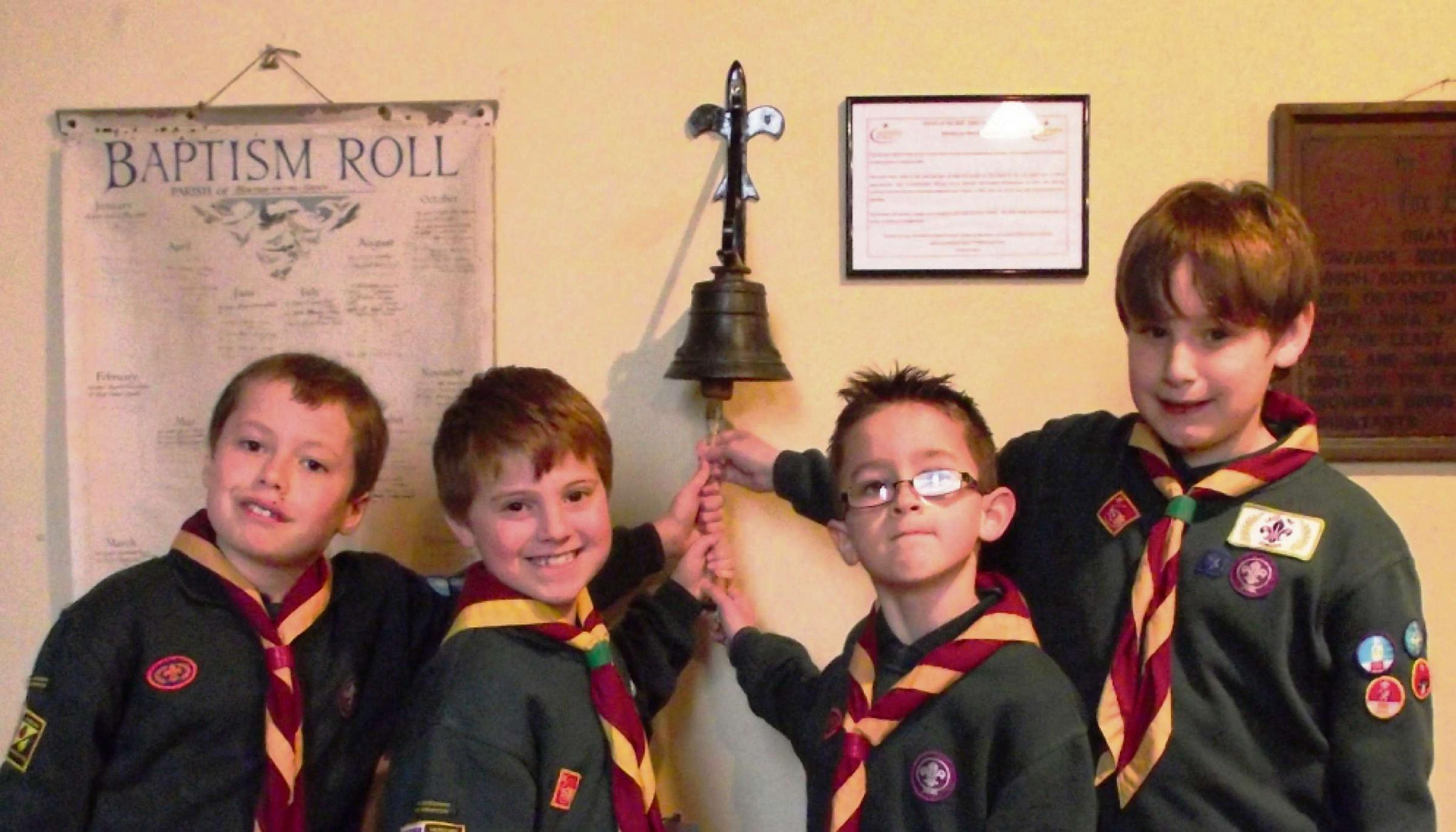 Max Hurst, Harrison Fortey, Sam Wright and James Howell with the maiden bell.