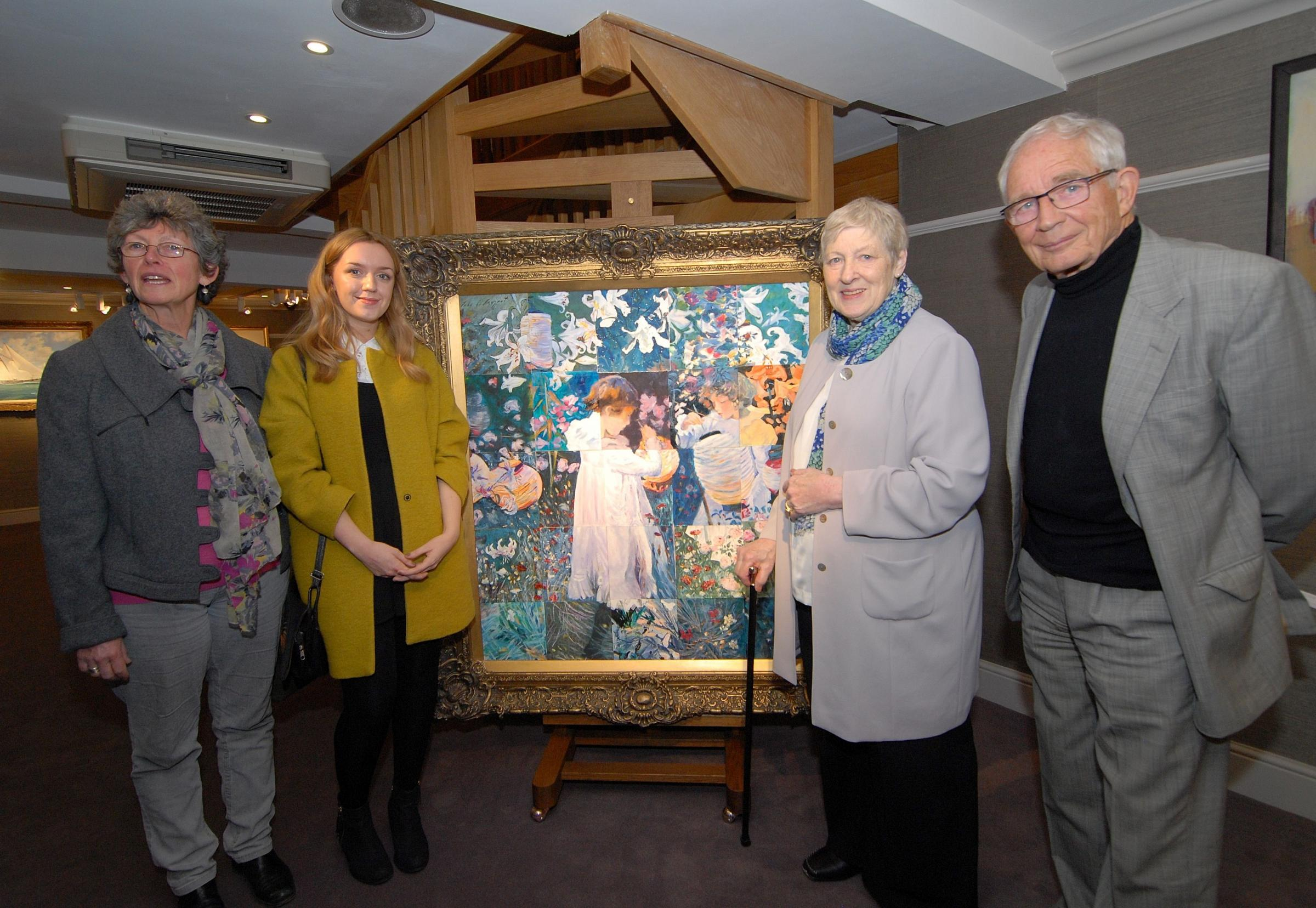 1514567901. 08/04/14. Launch of the 2014 Broadway Arts Festival at Trinity House Gallery in Broadway. Left to right - painter Arabella Kiszley, bursary student Chloe Williams, deputy festival director Sonia Woolven and trustee chairman John Noot with the