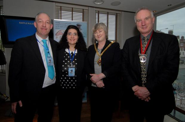 Left to right - Russell and Lisa Ventura with Myor of Worcester Councillor Pat Agar and Mayor's Consort Phil Carney at the launch of the Ventura's charity Frankie&#