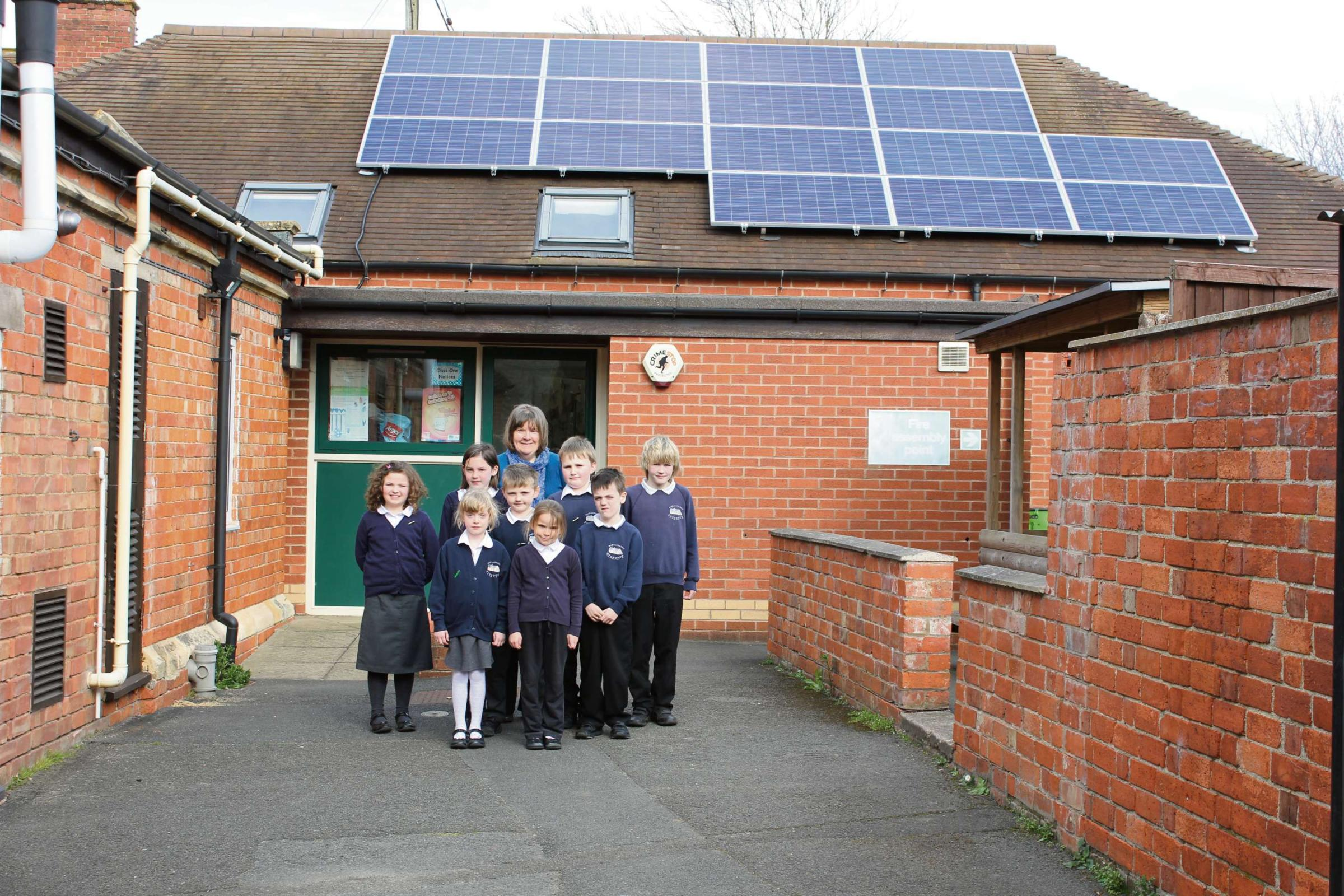 Jane Neal, eco-co-ordinator at the school, with Charlotte Burkert, George Hair and Robbie Clarke (back row) , Olivia Walters, Oliver Enstone and Jacob Buckland (middle row), Maisie-Anne Chatterton and Rosy Smith (front row).